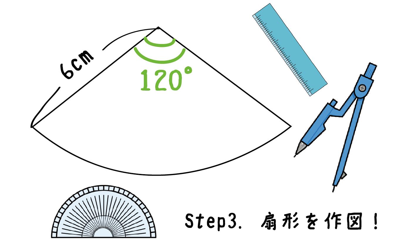 円錐 展開図 書き方 作図