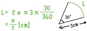 扇形 弧の長さ 公式