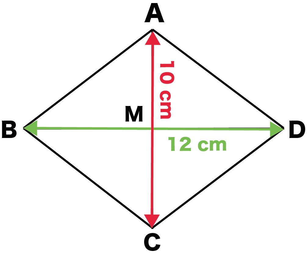 ひし形 菱形 面積 求め方