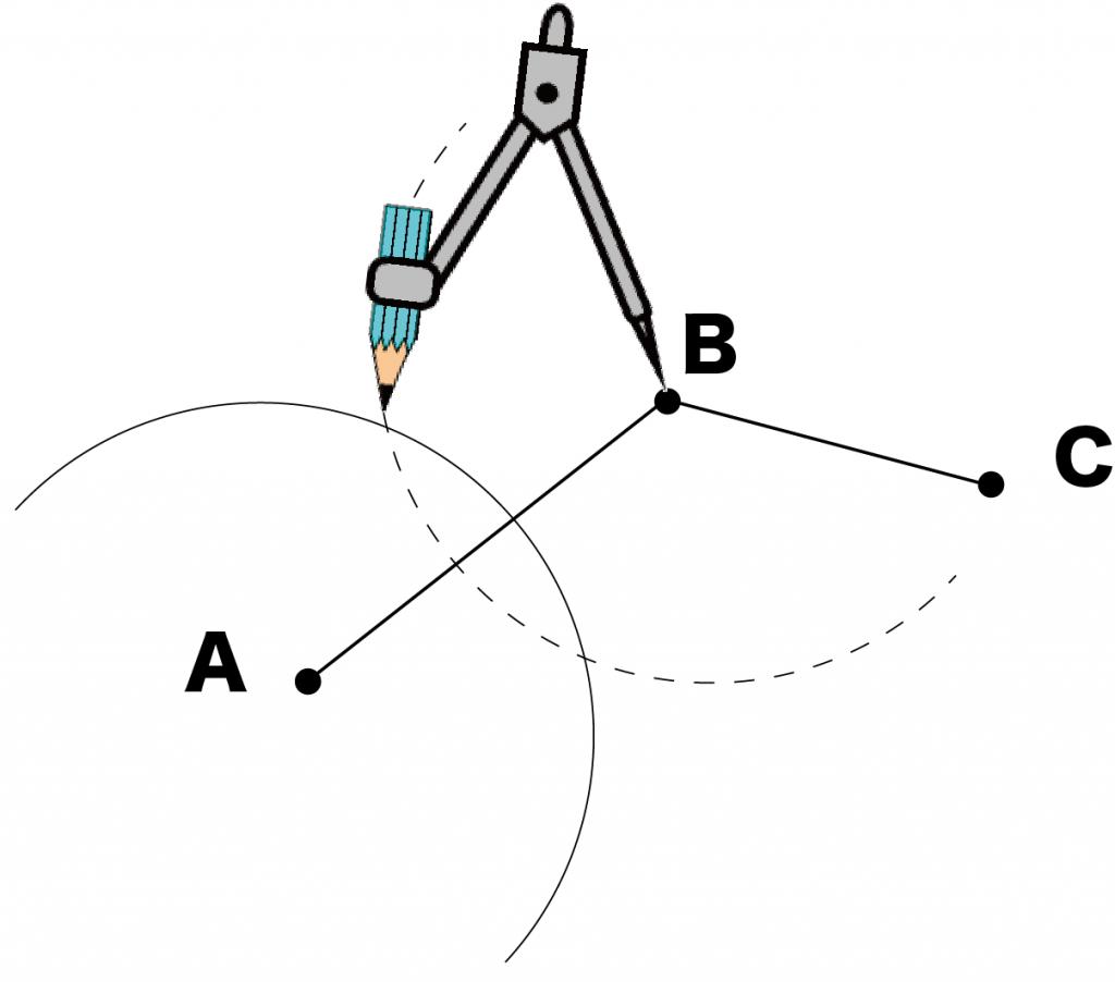 3点を通る円の中心 作図 書き方